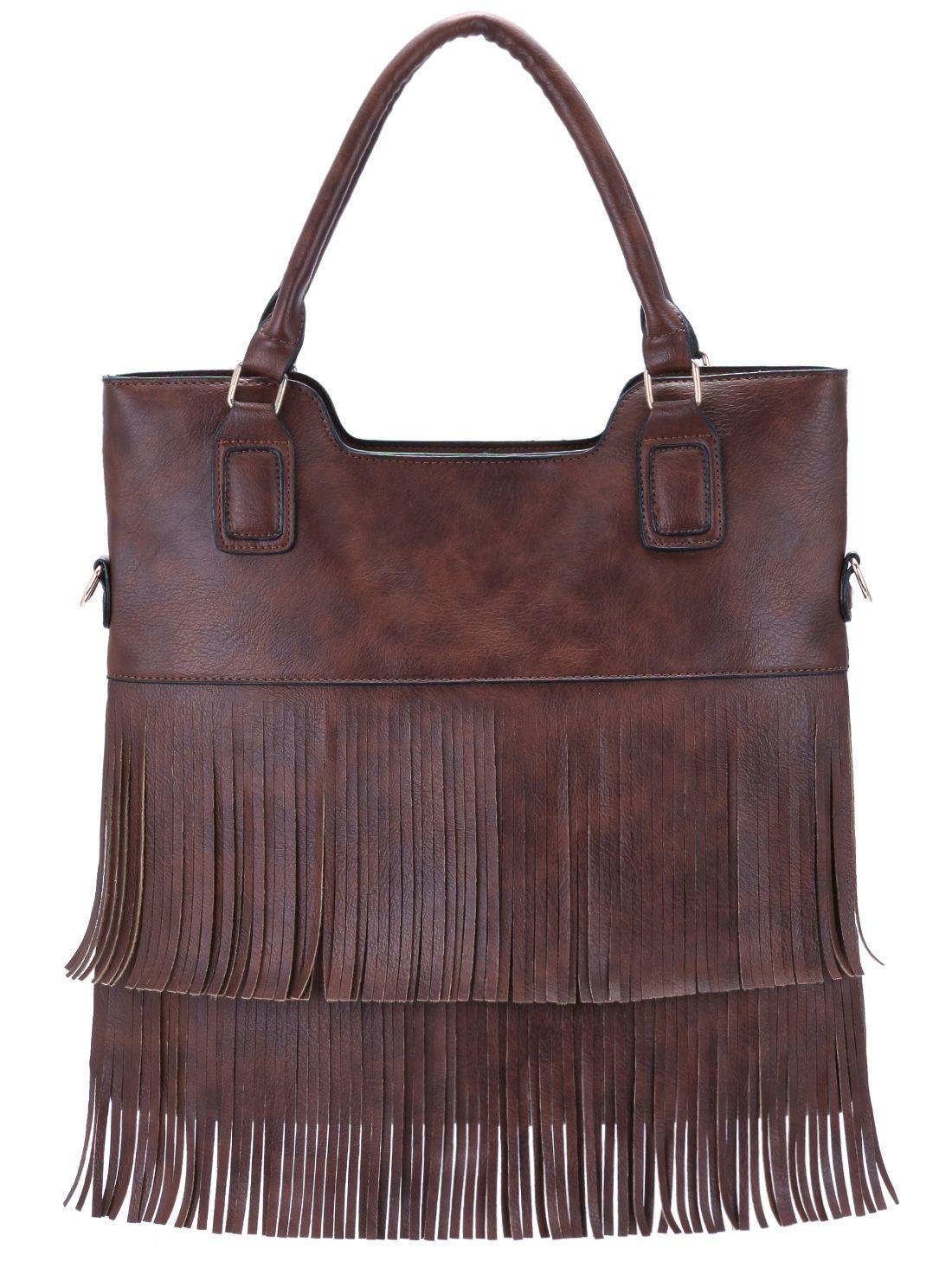Brown Tassel PU Tote Bag 18.54