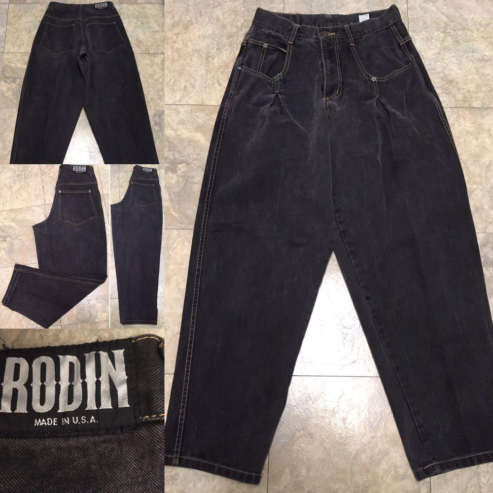 Vtg 80s 90s Rodin Black Jeans Pleated High Waist Sz 32 29 Waist Made In Usa Ebay Vintage Denim Black Jeans High Waist Jeans