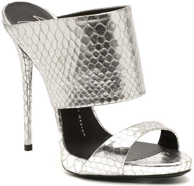 Giuseppe-Zanotti-silver-snakeskin-mule-sandal-Fall-2014-collection ...