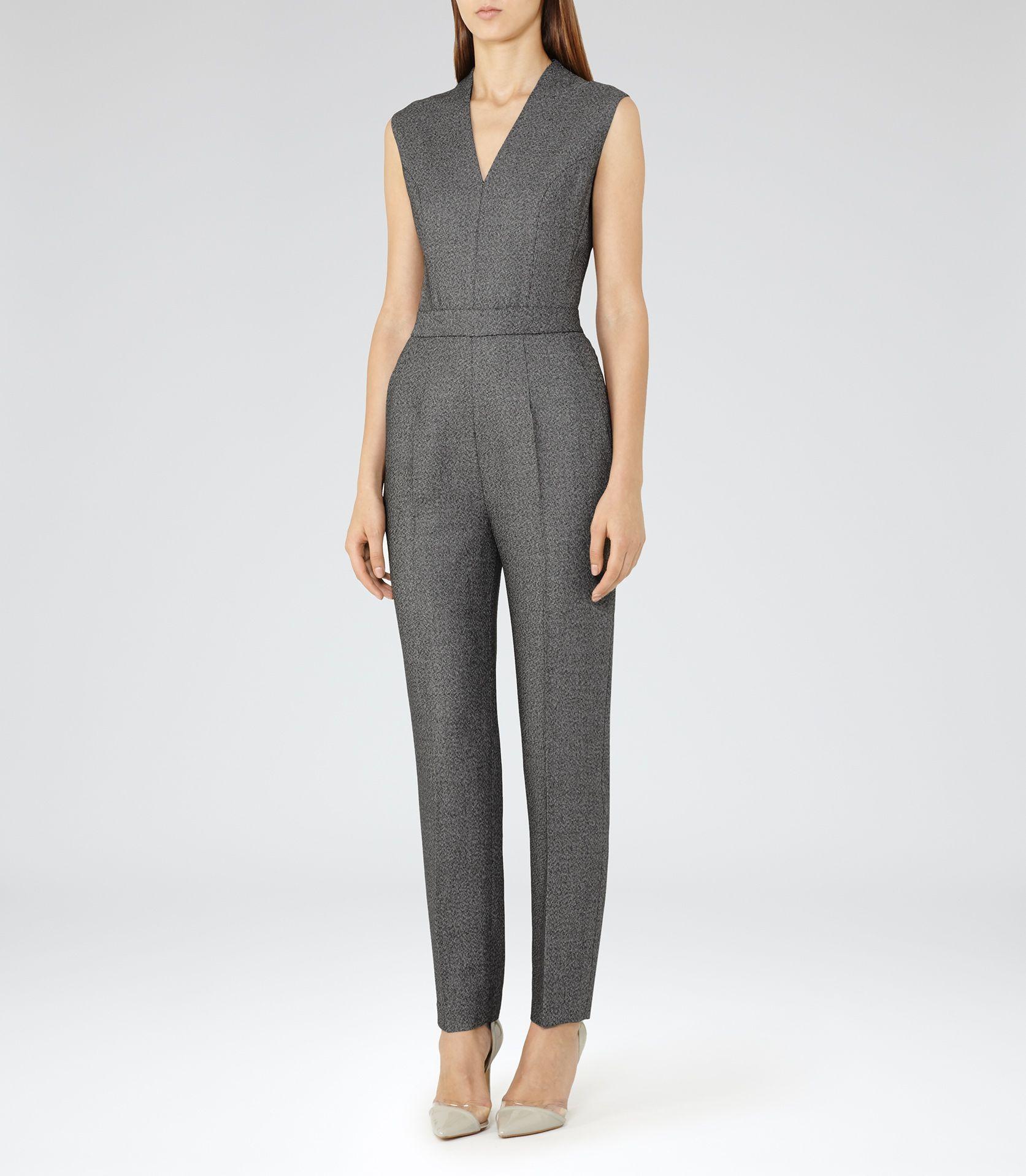 dc77b32e97f Womens Grey black Tailored Jumpsuit - Reiss Gabrielle Jumpsuit ...