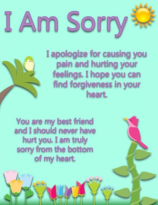 A Sweet I Am Sorry Ecard For Your Best Friend With A Kind