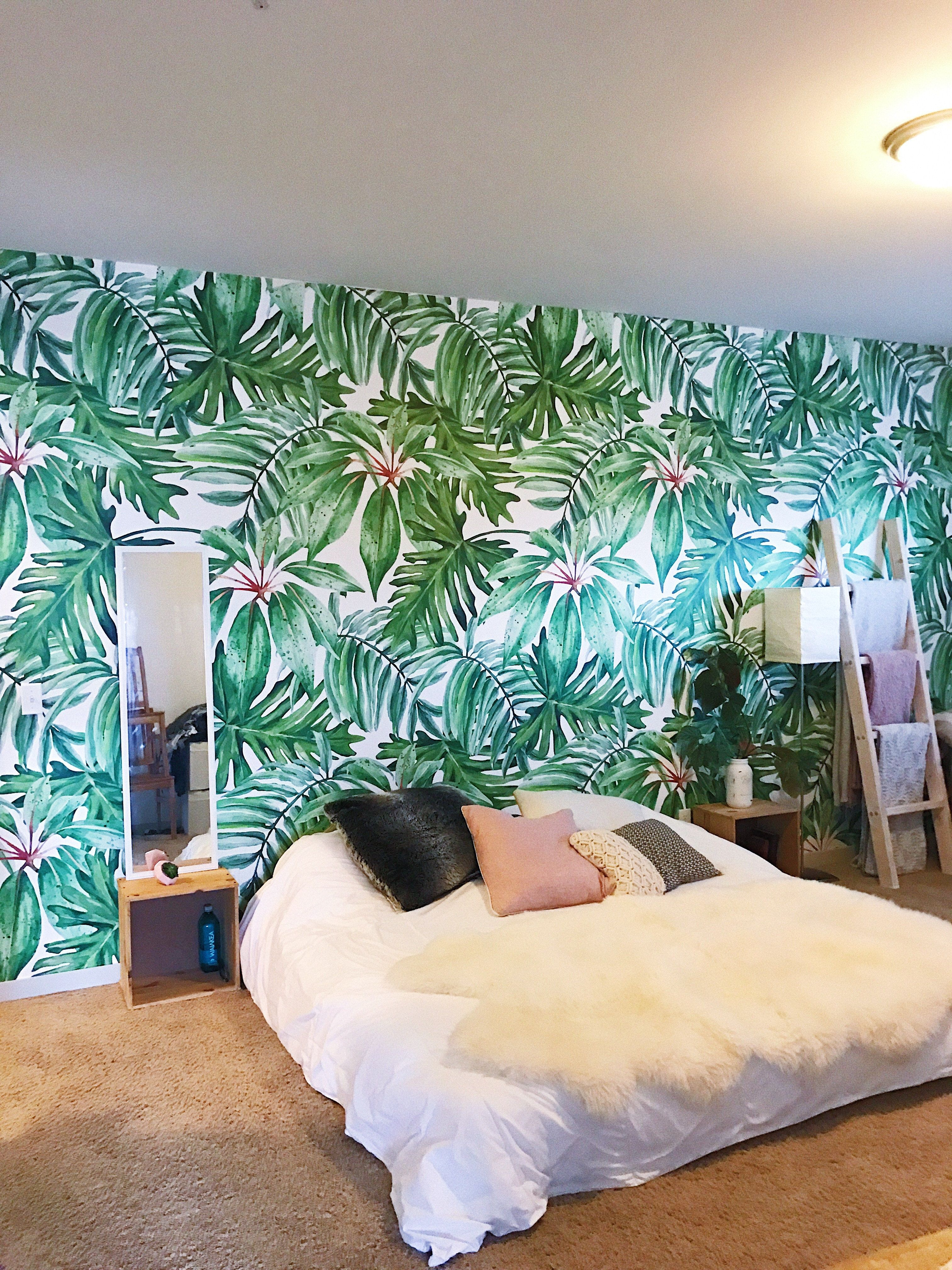Banana Leaves Are A Great Thing To Sleep Under Peel Stick Wallpaper With This Green Motive Wallpaper Walls Bedroom Trees Wallpaper Bedroom Wallpaper Bedroom