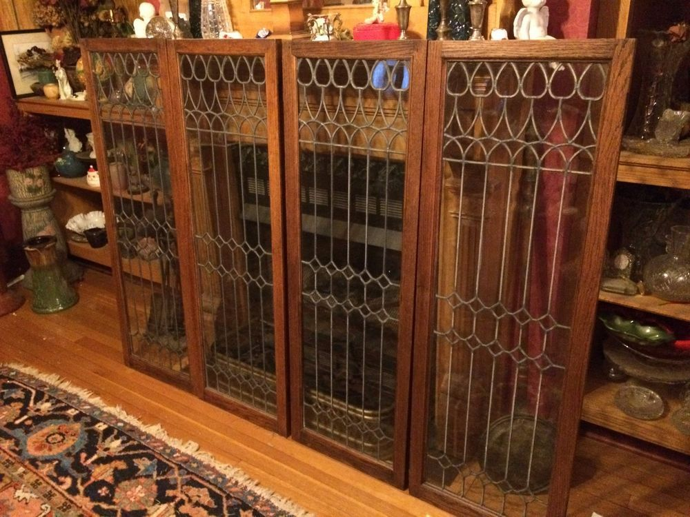Rare Vintage Set Of 4 Antique Leaded Glass Oak Cabinet Doors 2