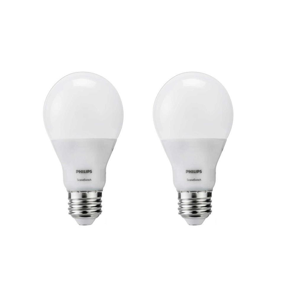 Philips 60 Watt Equivalent A19 Led Sceneswitch Light Bulb Daylight Soft White Warm Glow 2 Pack Light Bulb Bulb Light Bulb Bases