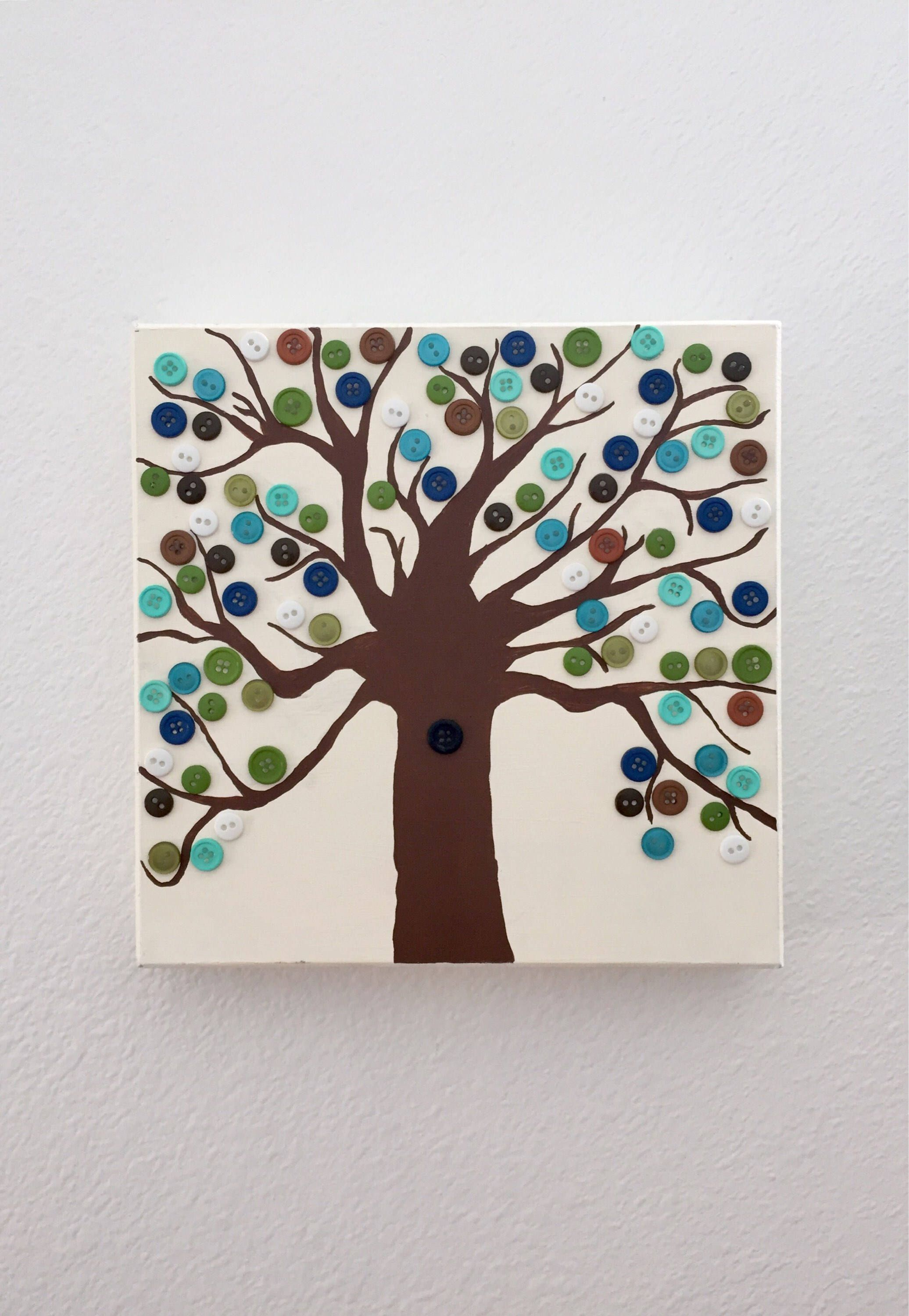 Button Tree Wall Decor  Hand Painted  Tree Decor