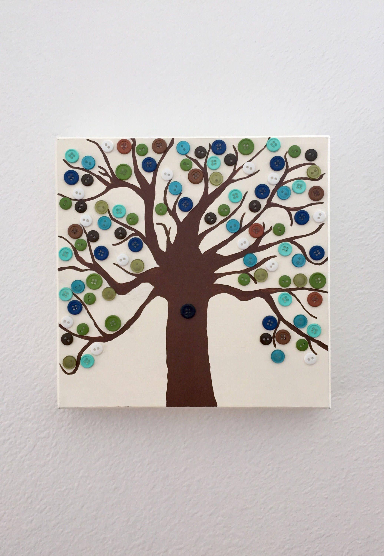 Button Tree Wall Decor  Hand Painted  Tree Decor