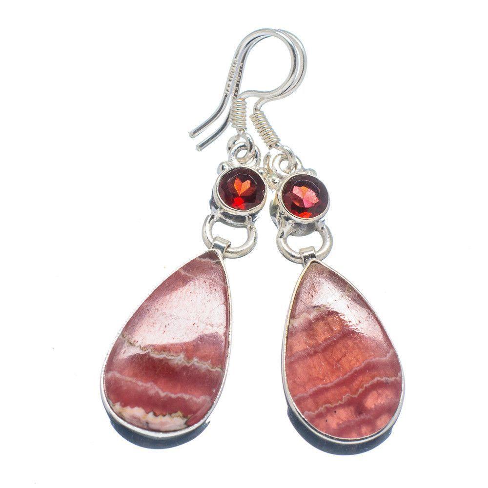 """Rhodochrosite, Garnet 925 Sterling Silver Earrings 1 3/4"""" EARR315966"""