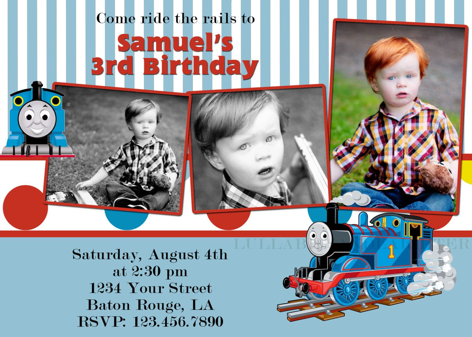 Custom Thomas The Tank Engine Photo Birthday Invitation 5x7 Digital File 999 Via Etsy