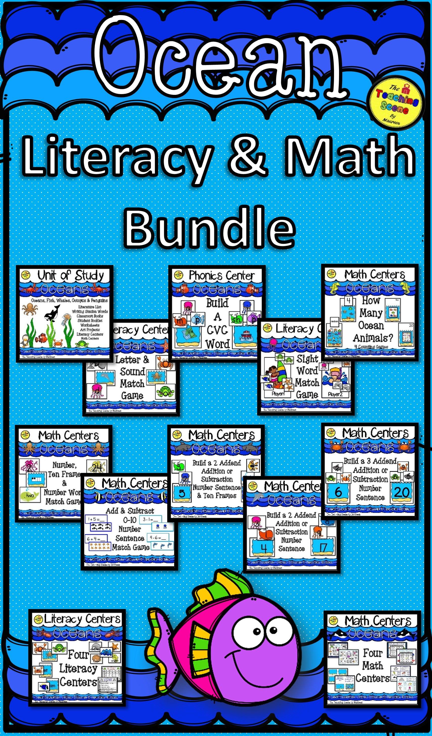 Ocean Themed Literacy Amp Math Bundle