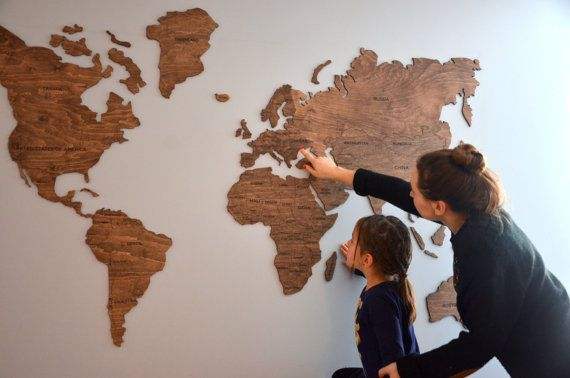 Office Wall Decor Wooden World Map Of The Canvas Large Travel Living Room Rustic Housewarming New House Home Gift For Wife Father