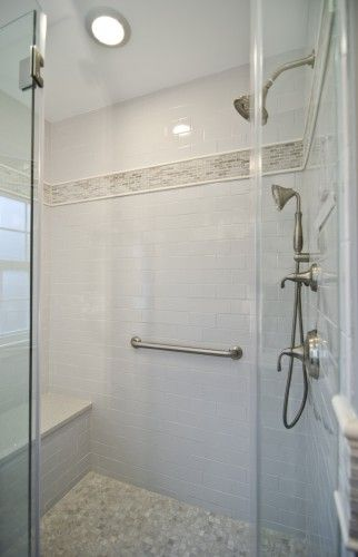Universal design doesn 39 t have to look commercial this bath has a grab bar shower seat and for Commercial bathroom grab bars