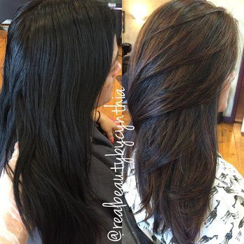 Before and after dark brown/black virgin hair to caramel Balayage sombre