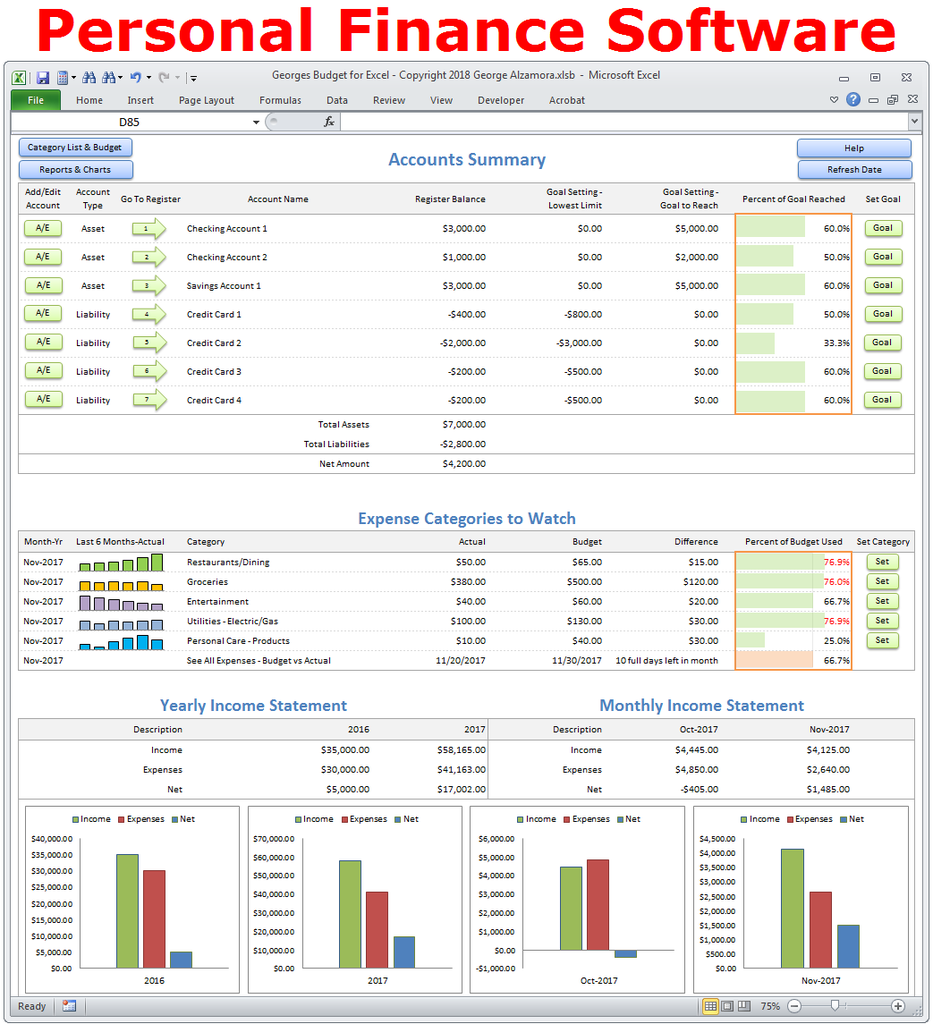 Georges budget for excel v100 personal finance software georges top selling personal budget software to help manage your home finances and see where you are spending you money ibookread Read Online