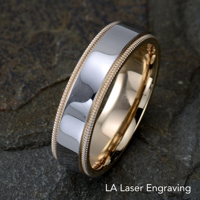 Mens Wedding Band Wedding Ring Two Tone Wedding Band Mens Ring
