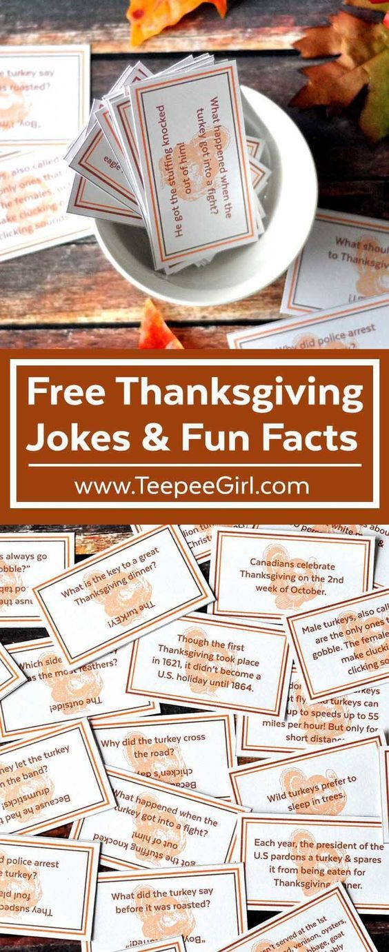 Free Thanksgiving Joke/Fun Fact Printable Cards