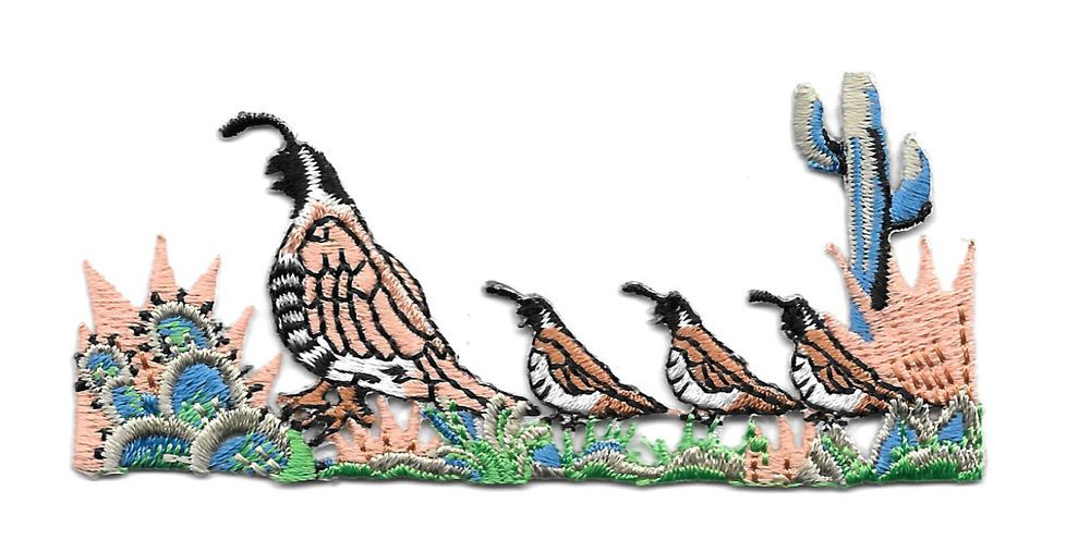 """Quail Family W/Cactus Embroidered Iron On Applique Patch - 3 1/2""""W #Unbranded"""