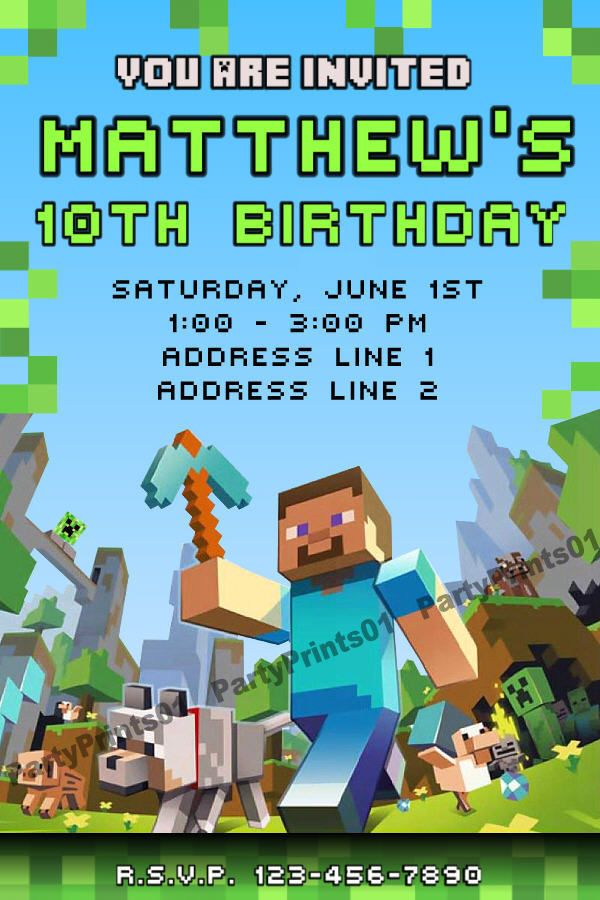 Minecraft Birthday Party Ideas Minecraft Personalized Birthday Party Invita Minecraft Birthday Minecraft Birthday Invitations Minecraft Invitations