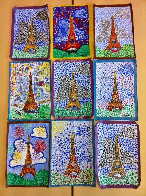 La Tour Eiffel, en pointillisme, selon Georges SEURAT - École ABCM Zweisprachigkeit