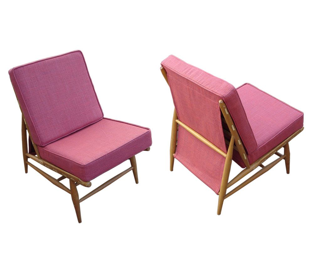 1950s Lounge Armchairs Re Upholstered In Multicolored: Pair Of Ercol 427 Lounge Chairs