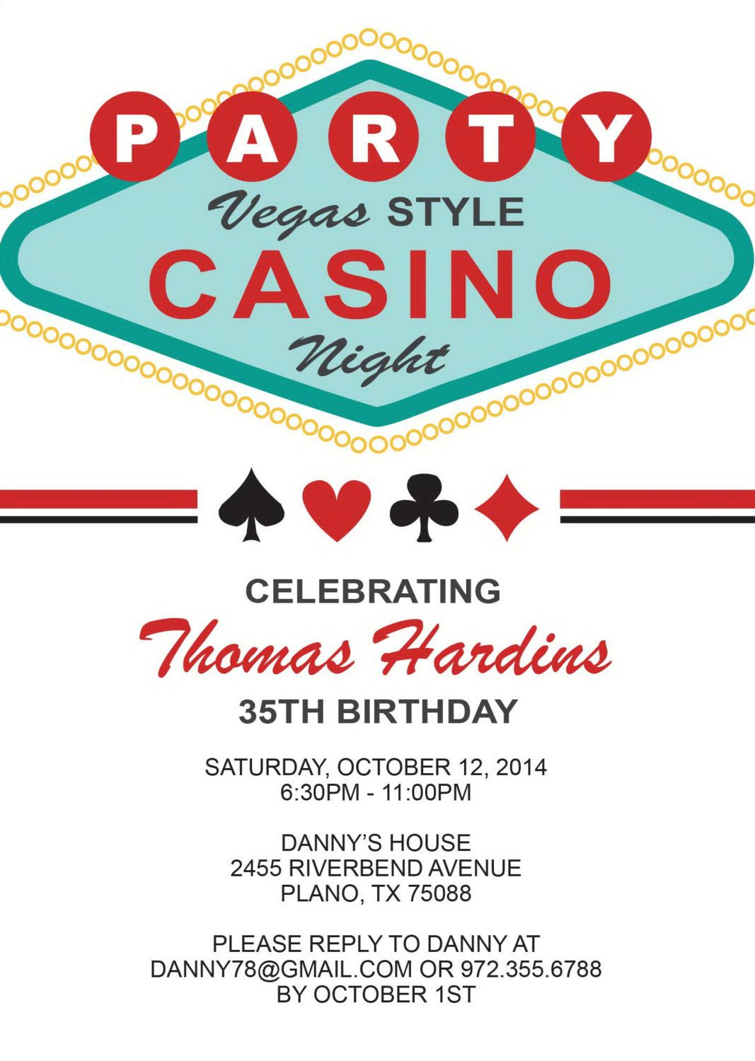Las Vegas Birthday Invitation Adult Birthday By AnnounceItFavors - Party invitation template: casino theme party invitations template free