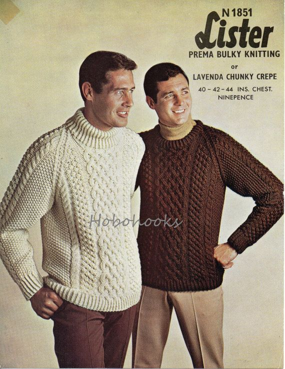 mens chunky cable sweater knitting pattern 1960s crew neck polo neck 40-44 inches Chunky bulky mens knitting patterns PDF instant download
