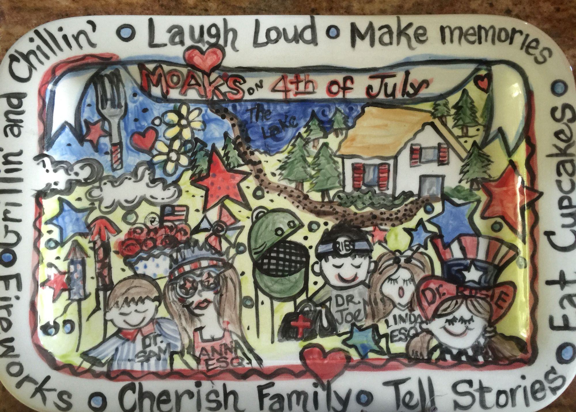 I painted this then fired it in my kiln.   It is practically perfect for the fourth 0f July party out at our friends farm.  Problem is I burned the brownies!!!!!!