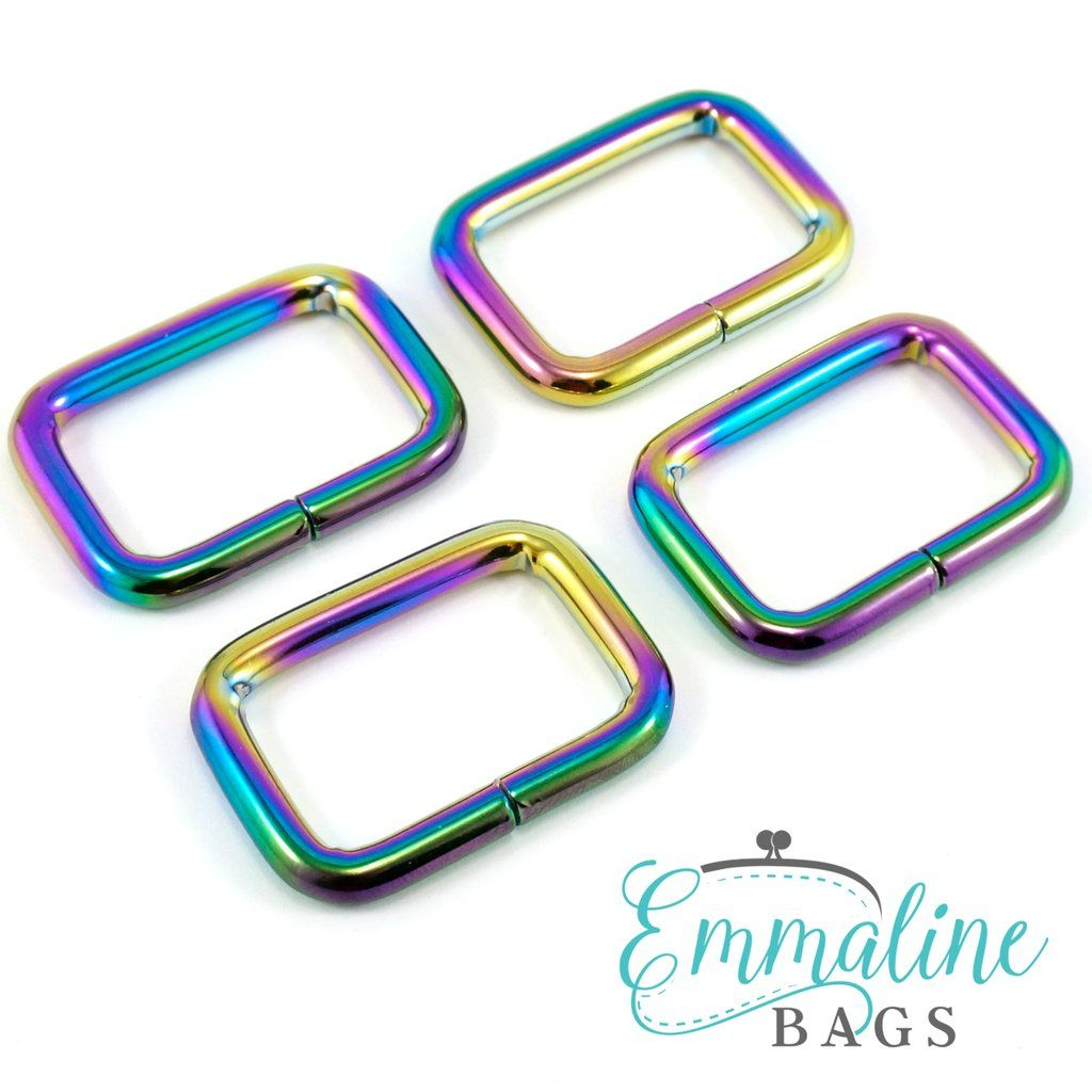 "Rectangular Ring: 1"" (25 mm) in Iridescent Rainbow Finish (4 Pack)"