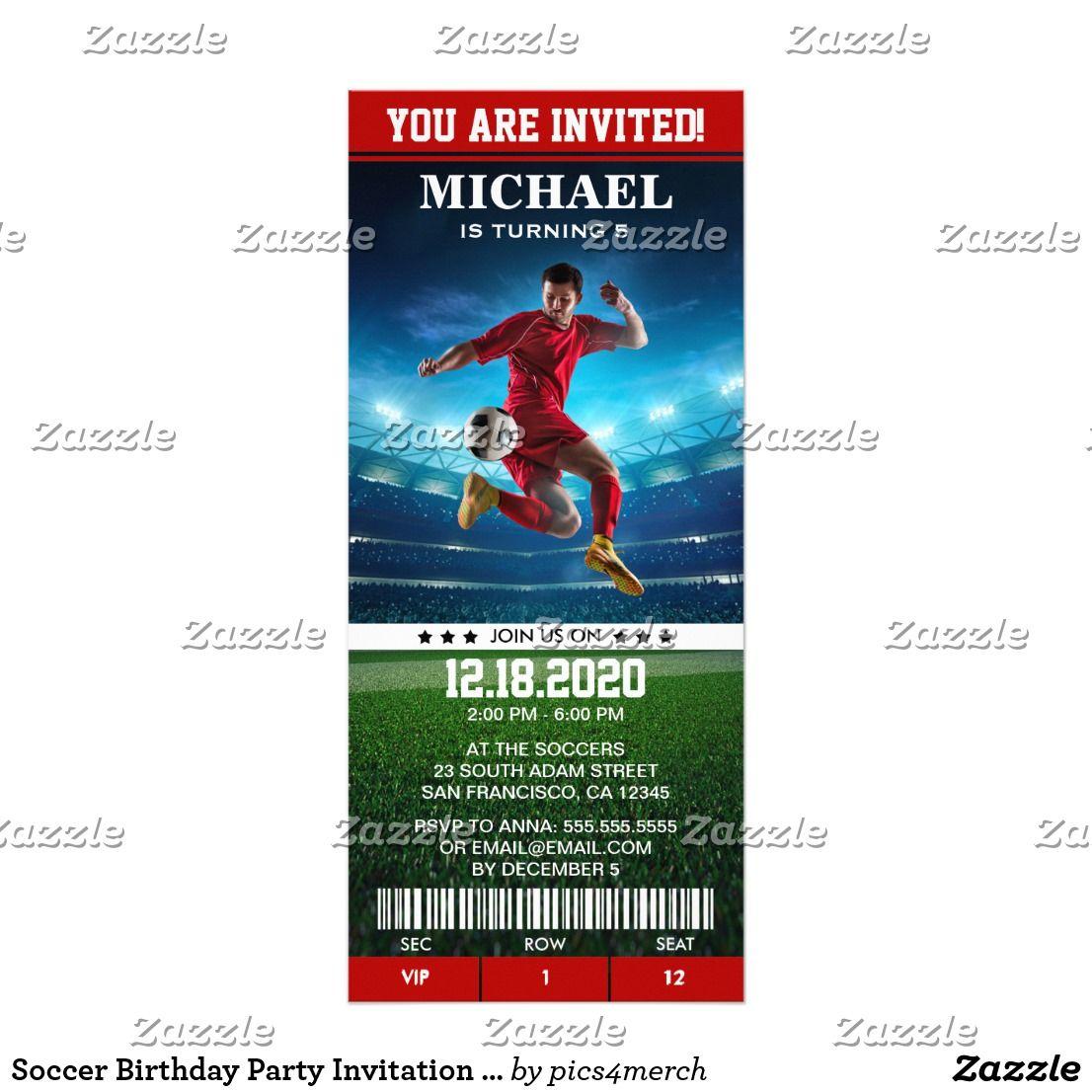 soccer birthday party invitation template ticket happy birthday