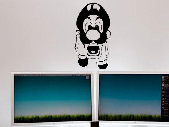 Shocked Luigi Mario brothers nintendo wall decal by MyVinylStory ... 53636e5dd9