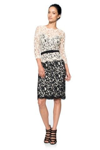 Tadashi Shoji Lace ¾ Sleeve Dress with Grosgrain Ribbon Belt