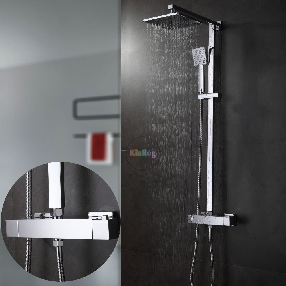 Bathroom Thermostatic Shower Set.Square Thermostatic Shower Faucet ...