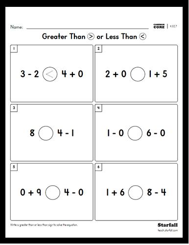 Kindergarten First Grade Greater Than Or Less Than Worksheet Generator K Cc 7 Teach Starfall Com Greater Than Kindergarten Lessons Greater