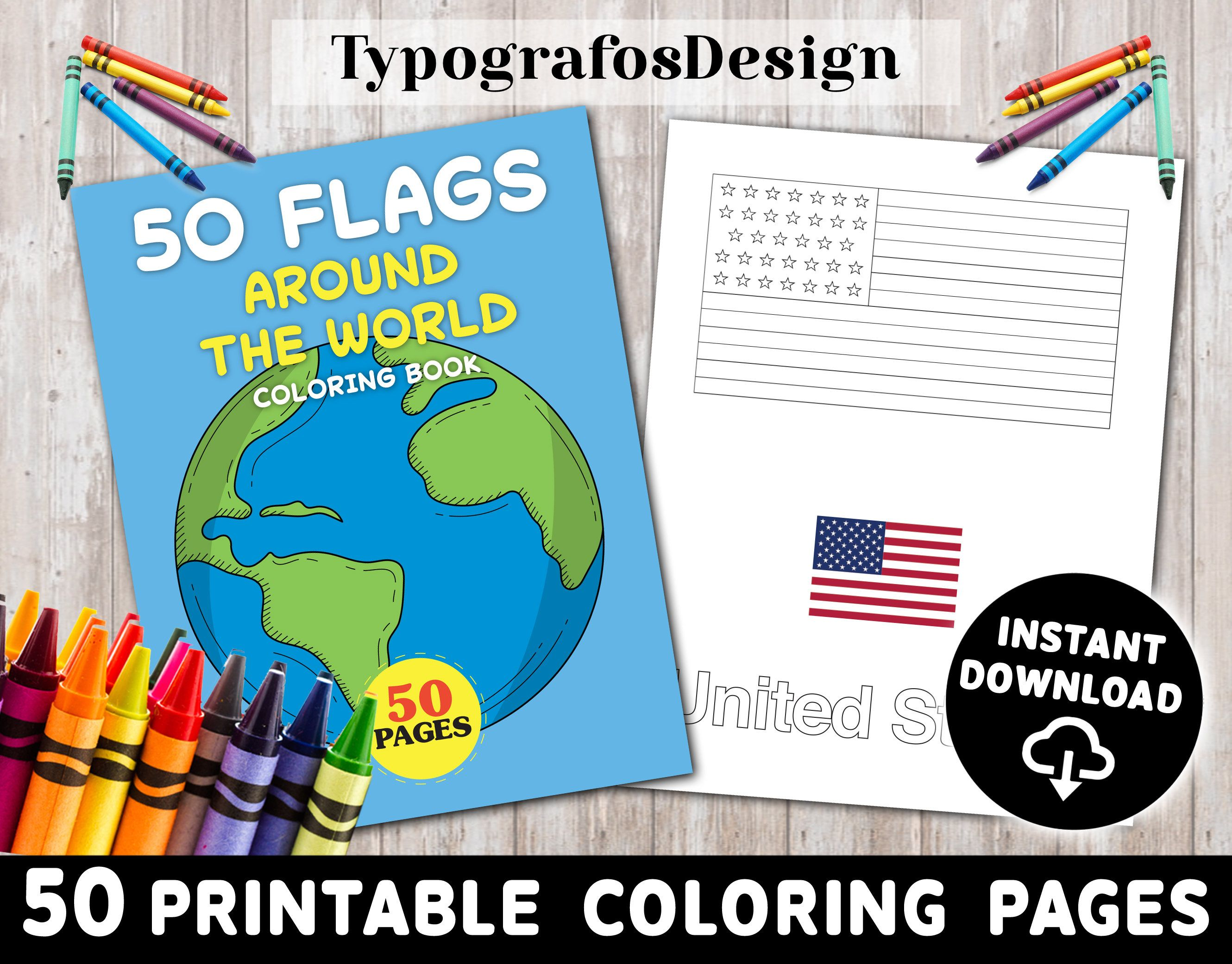 Flags Around The World Coloring Book Printable Book For Kids Etsy Birthday Coloring Pages Coloring Books Coloring Pages
