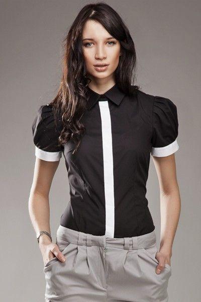 9df14e66382a Noir   Blanc   Black   White Magnifique chemisier noir et blanc, cintré  avec manches ballons.