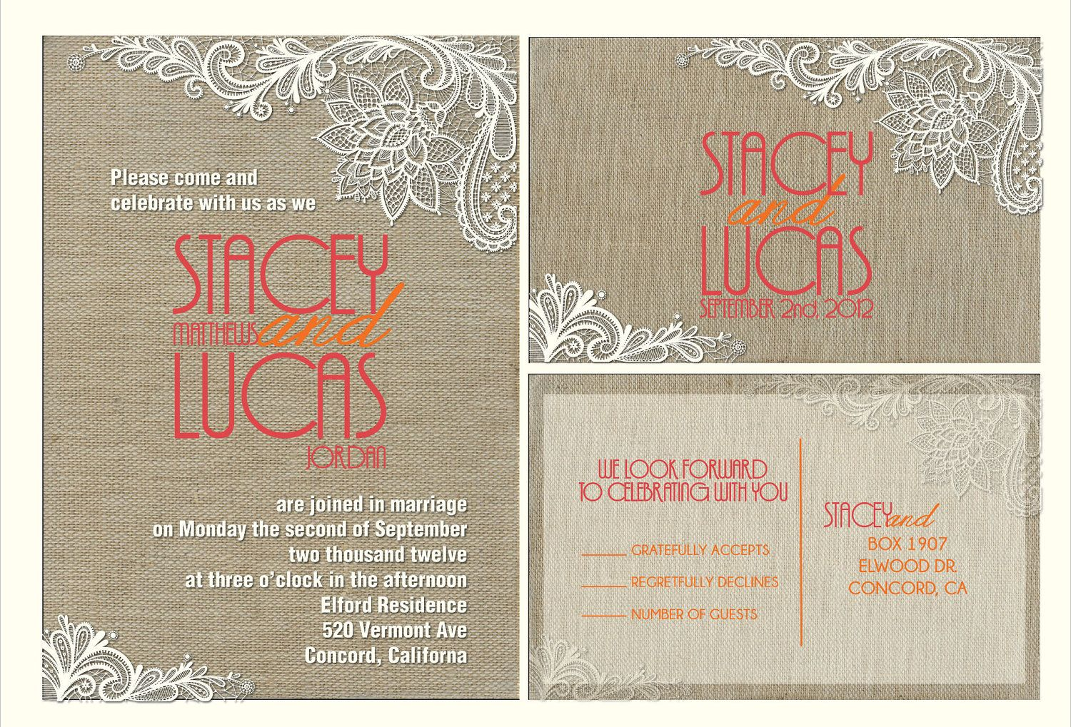 Budget Burlap Lace Vintage Wedding Invitation Suite With Matching