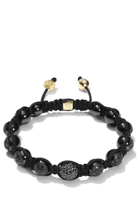 Shamballa Jewels Carved Ceramic Bracelet With Black Diamond Ball