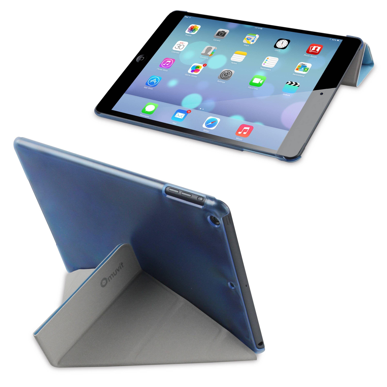 Funda Soporte Butterfly Azul Apple iPad Air de Muvit. Funda diseñada especialmente para iPad Air que se ajusta a la perfección, deja libres todos sus puertos y funciones, tiene función soporte, y que, gracias al material resistente con el que está fabricada, protege de forma muy segura y con diseño tu dispositivo.