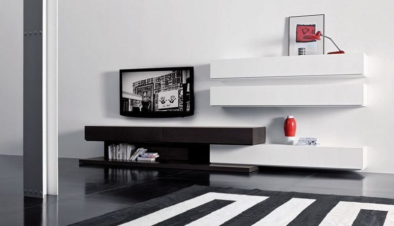 Modern Living Room Wall Mounted Cabinet And TV Stand Sistema People By Pianca Unit Combination With Modular Design Home