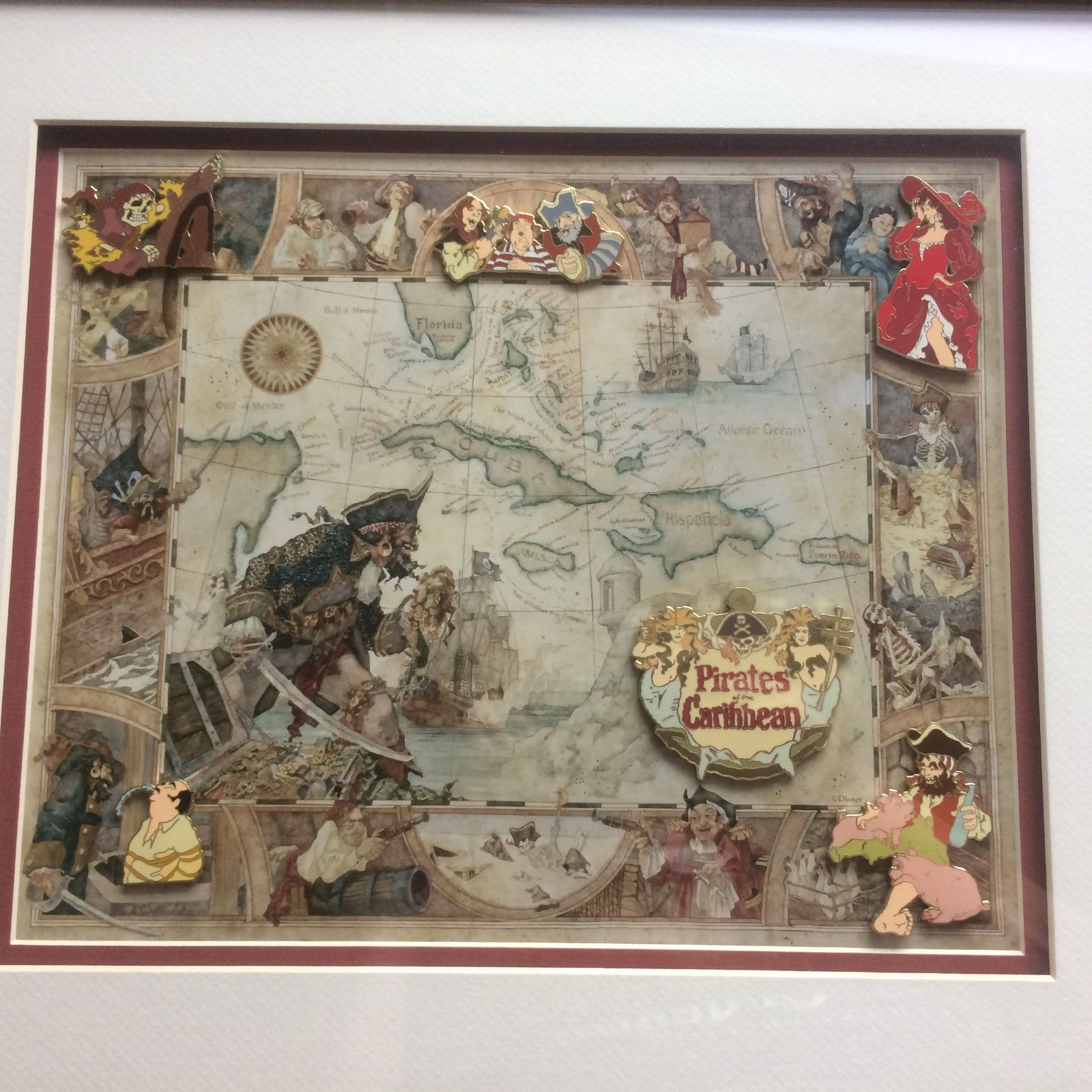 Disney dlr pirates of the caribbean attraction scene 6 pin disney dlr pirates of the caribbean attraction scene 6 pin framed set ebay gumiabroncs Images