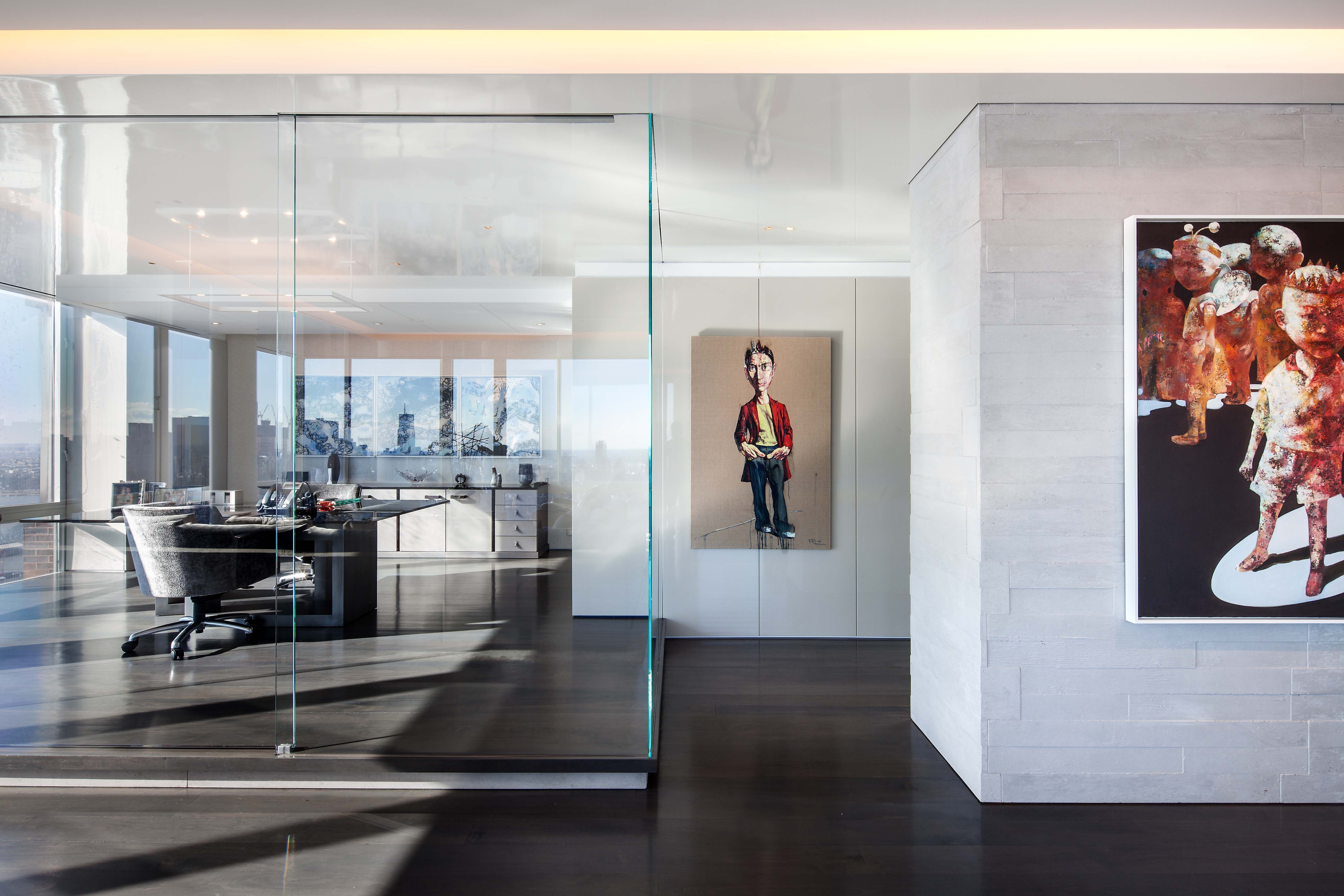 In This Penthouse A Glass Enclosed Study With Oversized Sliding