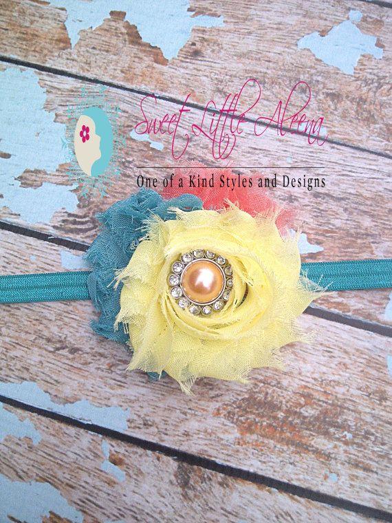 Yellow Coral Teal Headband  Infant Hair Bow  by SweetLittleAleena, $7.99