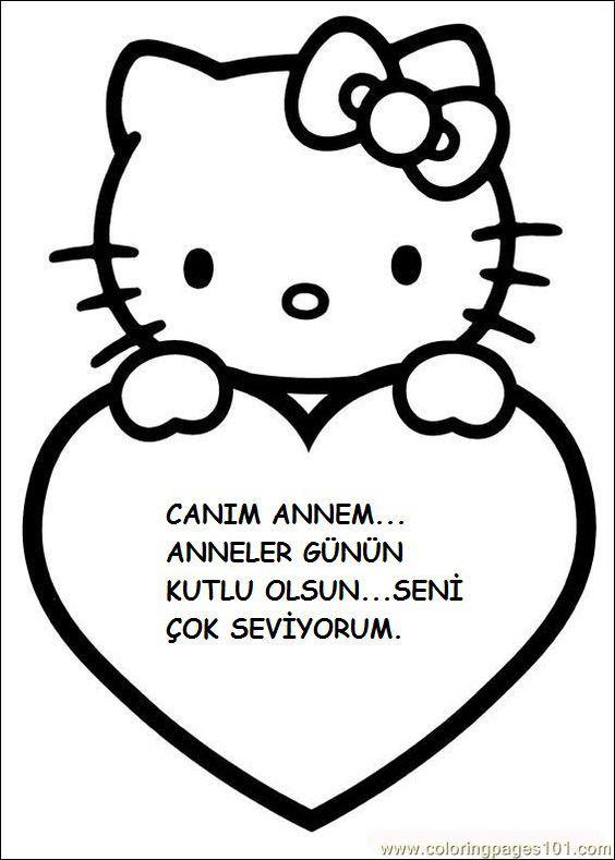Anneler Gunu Sanat Etkinlikleri 16 Hello Kitty Cat Valentine Boyama Kitaplari