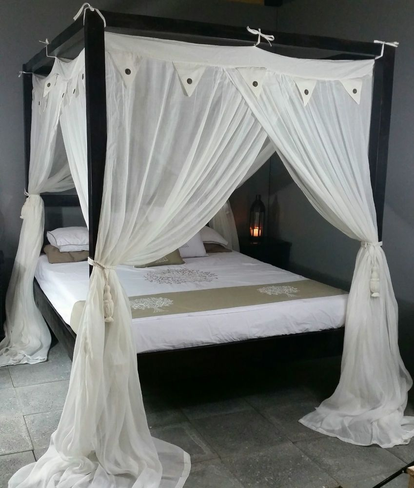 Double Bed Canopy four poster bed canopy mosquito net cream standard 155cm x 205cm