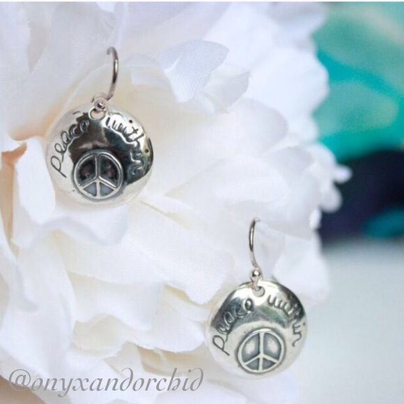 "Download Peace Sign Silver Dangle Earrings Beautiful silver ""peace ..."