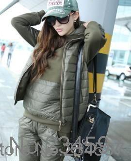Women s fashion winter korean black sportswear hoodies sport suits  three-piece set thicken 455db2c30b5