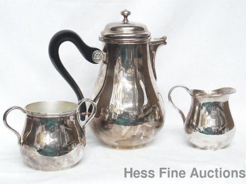 Antique Christofle Solid 925 Sterling Silver Tea Set Sugar & Cream Bowl & Tea Pot