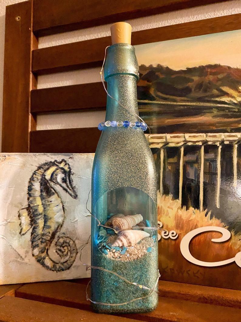 Blue Sea Glass Decorative Bottle W Led Lights Sand And Etsy Bottles Decoration Sand Art Bottles Diy Glass Bottle Crafts