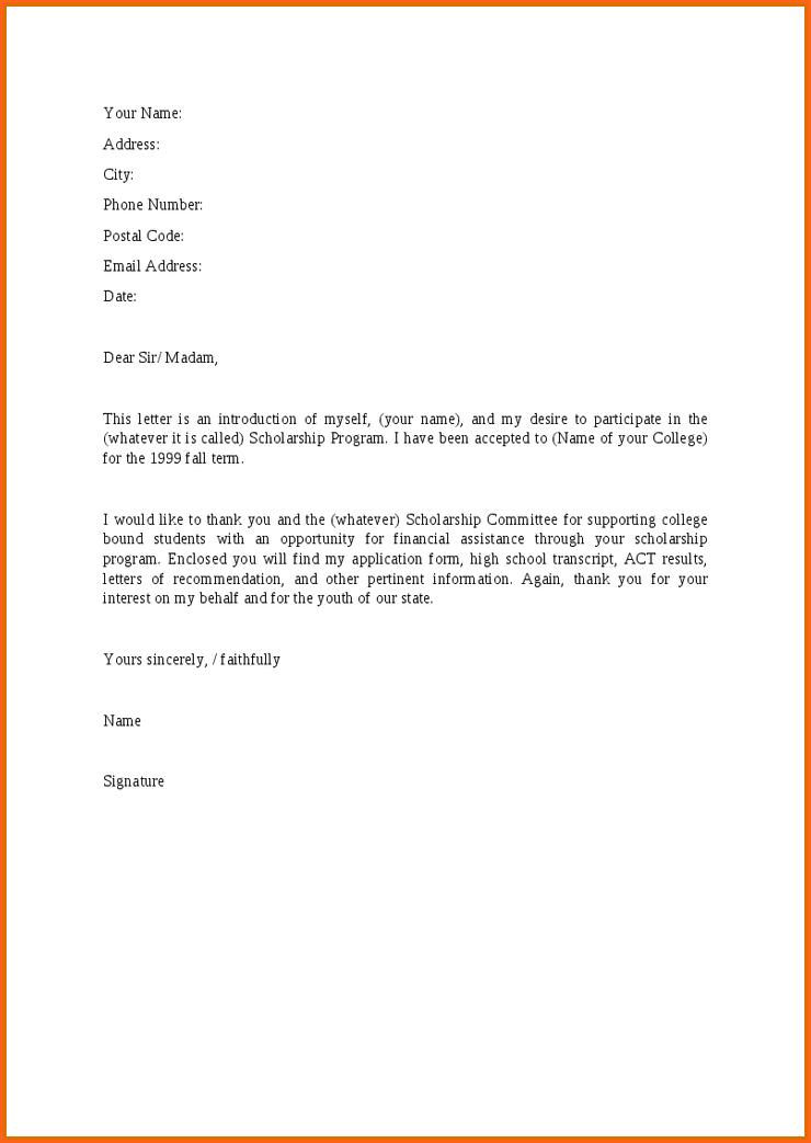 letter for bursary application pdflication sample scholarship