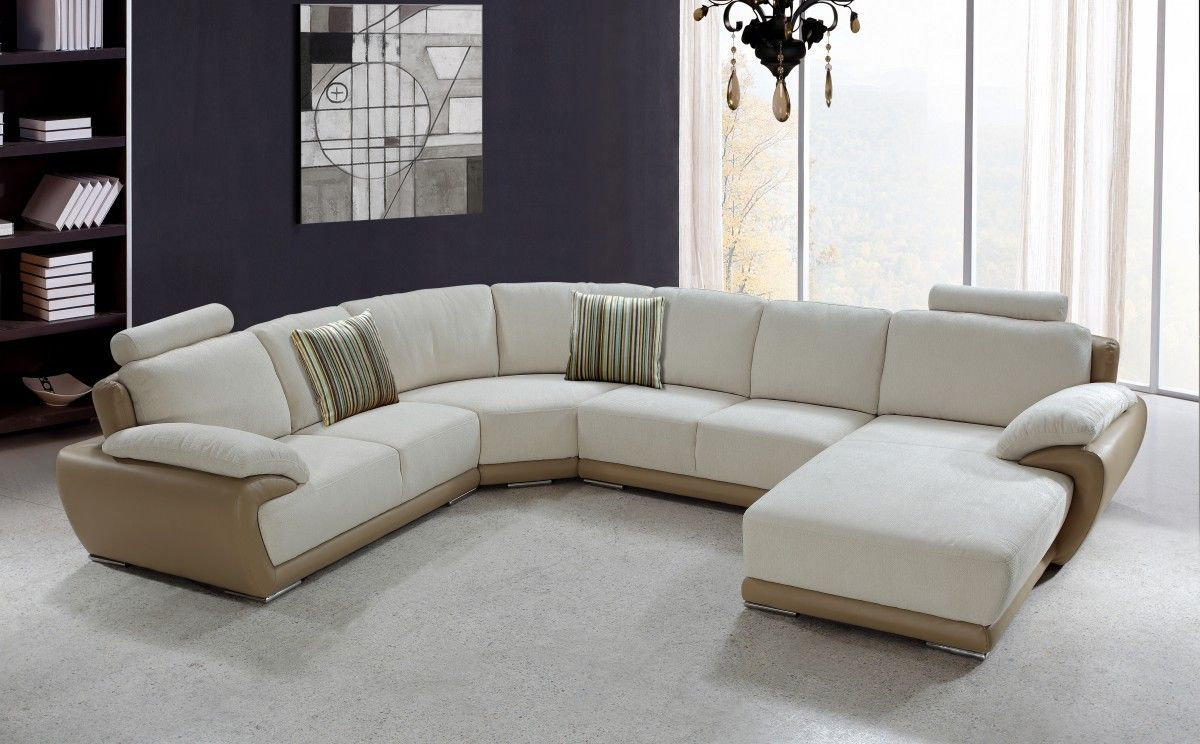 Chic U Shaped Sectional Sofas You Must Have : Awesome Vanilla UShaped  Sectional Sofa Design