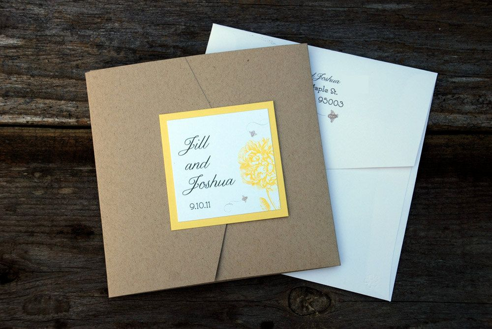 Vintage Rustic Peony Yellow White Wedding Invitation Pocketfold. $8 ...